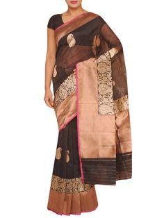 Beautiful piece in chanderi silk with zari border and resham hand embroidery