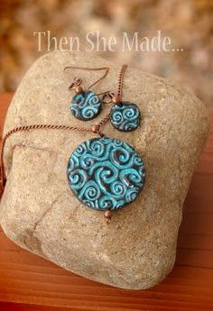 Make your own jewelry with sculpey clay and stamps! YES! Another creative use for all my stamps!
