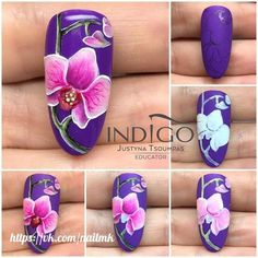 Orchideen Nail Art step by step flower Tutorial Indigo Nails to inspire Flower Nail Designs, Short Nail Designs, Flower Nail Art, Cool Nail Designs, Art Flowers, Spring Nail Art, Spring Nails, Summer Nails, Nail Art Modele