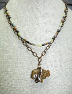 Multi Gemstone, Tiger's Eye Elephant Pendant Necklace!! | GoGemCreations - Jewelry on ArtFire