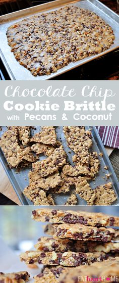 Chocolate Chip Cookie Brittle with Pecans and Coconut ~ crunchy like brittle but with the flavor of a chocolate chip cookie.