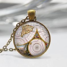 Old Map Pendant Necklace