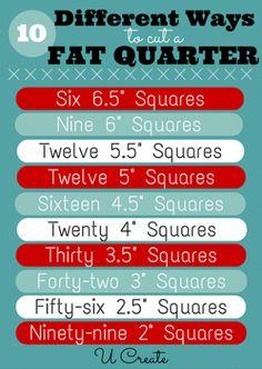 10 different ways to cut a Fat Quarter