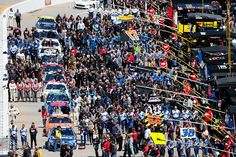A genreal view of pit road during prerace activities prior to the NASCAR Sprint Cup Series STP 500 at Martinsville Speedway on April 3 2016 in...