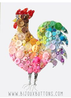 Bijoux Buttons Cockerel - Button Art & Swarovski Crystal Rhinestones Unique Gift