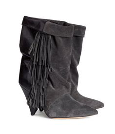 ISABEL MARANT. Boots in suede and leather. Fringe at sides, wide, fold-over leg, and pointed toes. Leather soles | H&M US $299