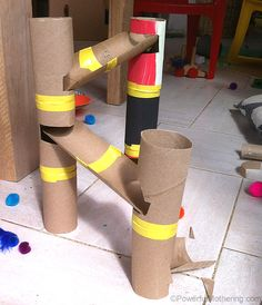 diy marble runs+cardboard | For the base I used a side of a cardboard box, marked the towers out ...