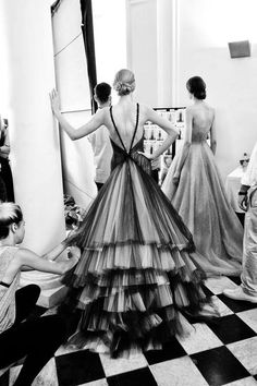 Fashion: New York City Style. Models backstage in gowns during fashion week.