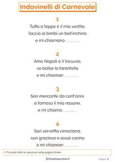 25 Indovinelli di Carnevale in Rima per Bambini con Soluzioni   PianetaBambini.it Carnival, School, Geo, Christmas, Kids, Alphabet, Culture, Art, Xmas
