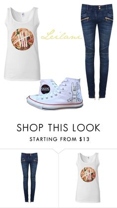 """Personal Requests ~ Leilani 2"" by infinitly-harold ❤ liked on Polyvore featuring Balmain and Converse"