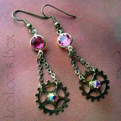 earrings coppertronic gears jewelry steampunk upcycled art