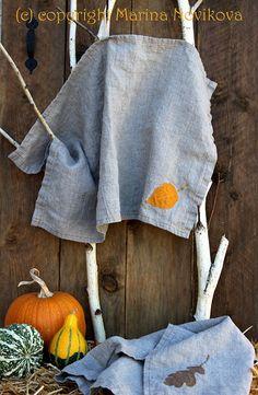 Linen Kitchen Towel Yellow Autumn Leaf. 100% Flax от FlaxyPlanet