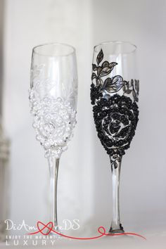 Wedding is the most memorable event in people's lives so no trifle should spoil this wonderful day. Such a trifle can become wedding toasting glasses which are often forgotten in the organization of the celebration. We can take care about it for you presenting original design and