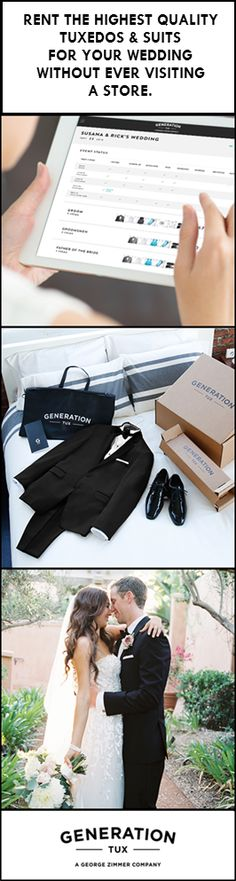 Your wedding day calls for the best in tuxedo quality, style, and variety. Shop over 50 styles at Generation Tux and customize, manage, and rent your wedding party's looks online. All styles are $95 and delivered free to your door with guaranteed fit.