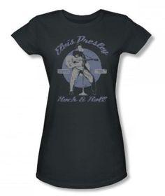 Elvis - Rock & Roll Juniors T-Shirt In Charcoal