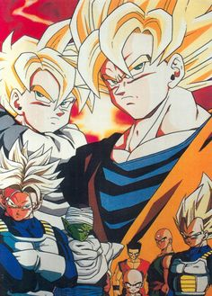 Goku and Gohan with the Z-Warriors
