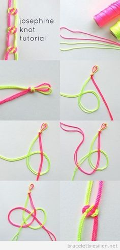 Josephine Knot Tutorial- Friendship Bracelet knots, Website is in French.