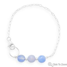 Handcrafted Chain Bracelet with Faceted Blue Quartz Beads