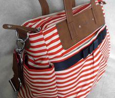 Diaper bag review - Babymel Cara red stripe