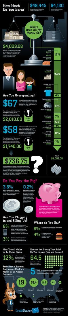 What typical Americans make and spend in a month and how they pay their bills.