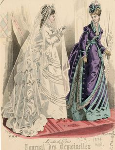 Journal des Demoiselles 1874  The bride's dress is pretty, but I really love the other dress better!