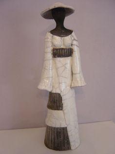 dsc00230.jpg (Sculpture),  8x31x9 cm par Christine Lavoute Femme japonaise en raku