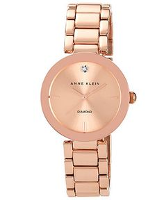 Anne Klein Watch, Women's Diamond Accent Rose Gold-Tone Bracelet 32mm AK-1362RGRG - Women's Watches - Jewelry & Watches - Macy's