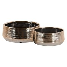 Urban Trends Polished Combed Round Pot - Set of 2 - 42920