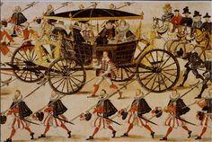 Wjazd orszaku weselnego Zygmunta III Wazy do Krakowa (fragment). W karecie siedzi Konstancja Austriaczka oraz odwrócona tyłem Anna Wazówna