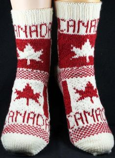 Ravelry: Flag Socks: Canada pattern by Christina Rowell Knitting Projects, Crochet Projects, Knitting Patterns, Crochet Patterns, Crafty Projects, Knitting Ideas, Knit Shoes, Crochet Shoes, Knit Crochet