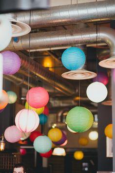Brightly Coloured Hanging Paper Lanterns  | Artisan of Clerkenwell London | David's Bridal Wedding Dress | Navy Blue Club Monaco Bridesmaid Dresses | Dale Weeks Photography | http://www.rockmywedding.co.uk/jen-tom/