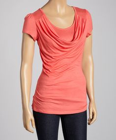 Look what I found on #zulily! Coral Drape Neck Top #zulilyfinds