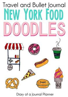 For a bullet journal or travel journal doodles, these new york food doodles are super easy to try. Anyone can draw with these step by step doodle tutorials. Bullet Journal For Beginners, Bullet Journal Hacks, Bullet Journal Themes, Bullet Journal Layout, Bullet Journal Inspiration, Bullet Journals, Planner Doodles, Food Doodles, Bujo Doodles