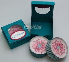 Stempel-trifft-Papier: Teelicht mit Verpackung
