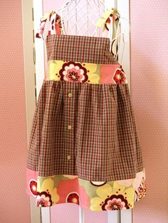 girls dress made from man's shirt and scrap fabric