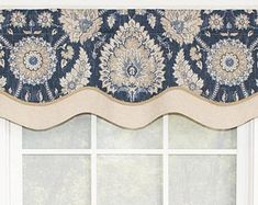 Layered shaped valance in grey damask over stripe with gimp Drapes Curtains, Valances, Bathroom Blinds, Remodeling Companies, Diy Blinds, Window Coverings, Window Treatments, Curtain Designs, Grey Stripes