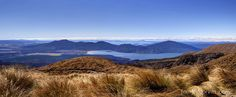 Tongariro Crossing looking down on Lake Taupo, New Zealand