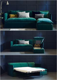 Sophie Sofa Bed - Skinny arms give you more room for slouching or sleeping. By adding a corner chaise to our Sophie sofa bed with the skinny arms, we've not only given you room to stretch out – but extra space to stash your guest sheets too. Under the chaise is a secret box big enough to hold a duvet, pillows and sheets and under the sofa is a full size double bed, with a proper mattress that's comfy enough to sleep on night after night. #CornerSofa #SofaBed