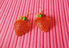 Handmade Laminated Spring Strawberry Earrings