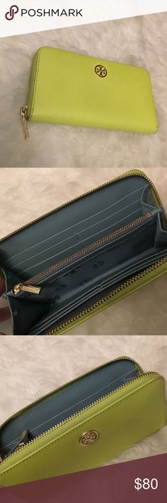 Tory Butch Wallet Neon Yellow/Green Tory Burch Wallet. Slightly Used, but in great condition. Tory Burch Bags Wallets