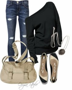 Casual Outfits | Take It Easy  Skinny jeans, Mossimo Supply bag, Jumper Shirt, Flat Shoes  by orysa