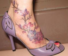Cherry blossom tattoo on foot