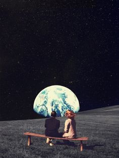 We used to live there. Remember? That world is still waiting for us. vintage, collage, space, surreal...