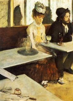 The Absinthe Drinker, 1876 by Edgar Degas. Impressionism. genre painting. Musée d'Orsay, Paris, France