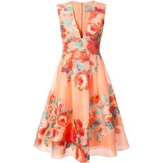 Lela Rose Floral Cocktail Dress ($2,119) ❤ liked on Polyvore featuring dresses, flower print dress, flower pattern dress, silk cocktail dress, flower printed dress and floral print dress