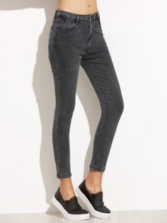 Black Skinny Ankle Jeans -SheIn(Sheinside) Mobile Site