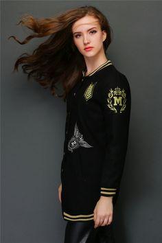 TC000933 Woolen badge coat thick baseball uniforms for women