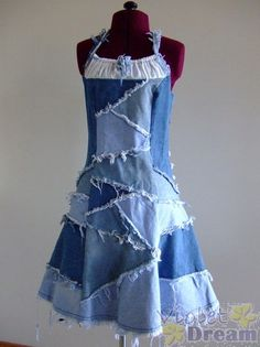 Recycled jeans dress