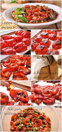 """Look out for the vinegar, but this looks amazing """" Roasted Red Pepper Bruschetta - your homebased mom Vegetable Dishes, Vegetable Recipes, Bruschetta, Appetizers For Party, Appetizer Recipes, Good Food, Yummy Food, Cooking Recipes, Healthy Recipes"""