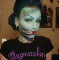 """Another fun Halloween Makeup. """"Pin Up Zombie/Dead Girl"""" by Anastasija of rottenzombiefairy. She used Sugarpill Lumi to highlight her skin! Real make up Halloween Noir, Cool Halloween Makeup, Halloween Makeup Looks, Scary Halloween, Halloween Costumes, Halloween Painting, Costumes 2015, Halloween Halloween, Spirit Halloween"""